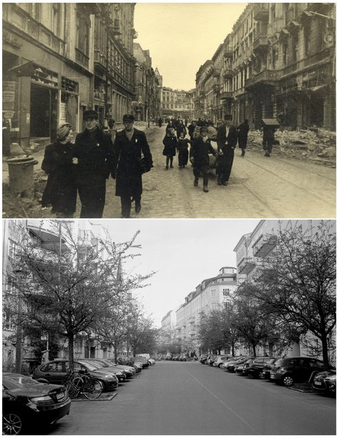 A combination photo shows people walking on Borsig Street in this undated photo taken May 1945 in Berlin (top) and at the same location (bottom) April 20, 2015. (Photo by Georgiy Samsonov (top)/Fabrizio Bensch (bottom)/Reuters/MHM)