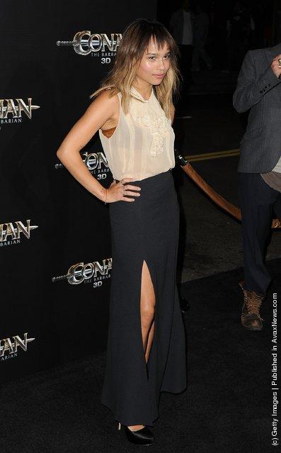 Zoe Kravitz attends the world premiere of Conan The Barbarian