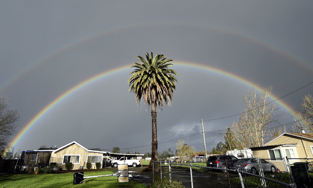 A double rainbow arcs over a palm tree in Santa Rosa, Calif., on Friday, February 15, 2019. In California, rainwater continued to drain from saturated landscapes even as a new system moved into northern areas of the state and more heavy snow fell in the Sierra Nevada. (Photo by Josh Edelson/AP Photo)