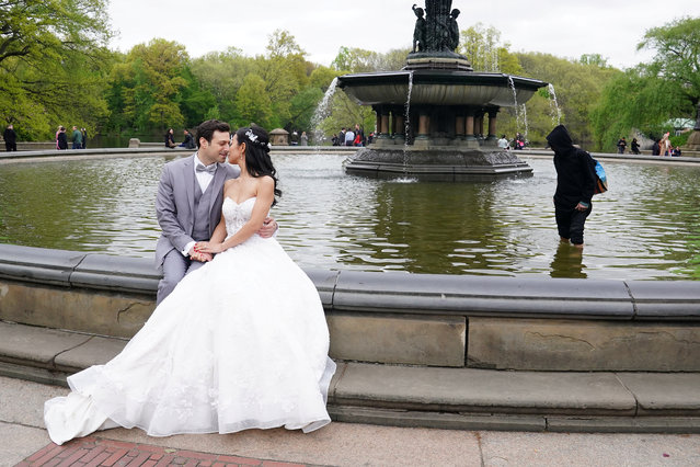 A bride and groom pose for photos as a man takes money out of Bethesda Fountain in Central Park in New York, New York, U.S., April 28, 2019. (Photo by Carlo Allegri/Reuters)