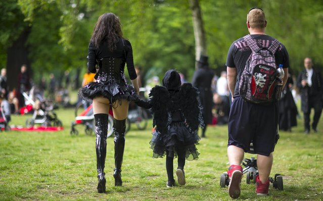Revellers attend the Victorian Picnic during the Wave and Goth festival in Leipzig, Germany, May 22, 2015. (Photo by Hannibal Hanschke/Reuters)