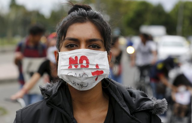 Demonstrator take part during a protest against Monsanto Co, the world's largest seed company in Bogota. May 23, 2015. (Photo by John Vizcaino/Reuters)