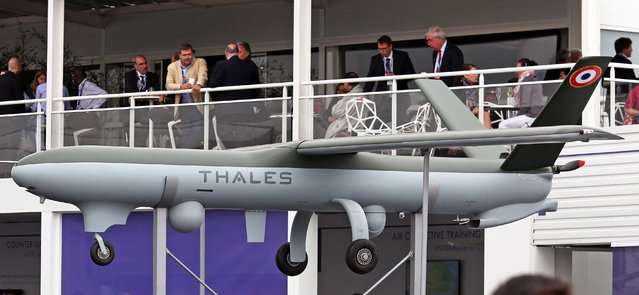A Thales made Watchkeeper drone is presented at the Paris Air Show in Le Bourget, north of Paris, Thursday June 18, 2015. Some 300,000 aviation professionals and spectators are expected at this weekends Paris Air Show, coming from around the world to make business deals and see dramatic displays of aeronautic prowess and the latest air and space technology. (AP Photo/Remy de la Mauviniere)