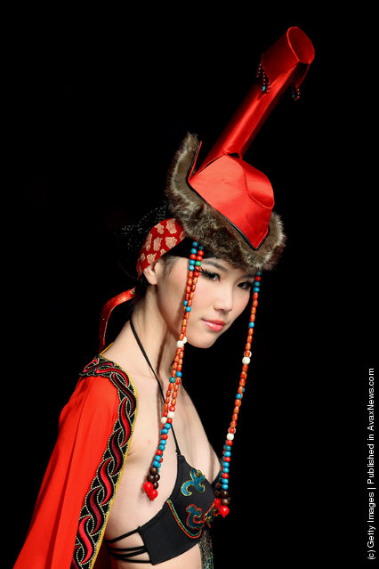 Model walks on the runway during the 'Ordifen Cup' Innovative Design Contest for China Undergarment Elements 2009