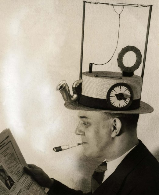 Portable radio in a straw hat, made by an American inventor. Date: 1931. (Photo by Mary Evans Picture Library/Caters News)