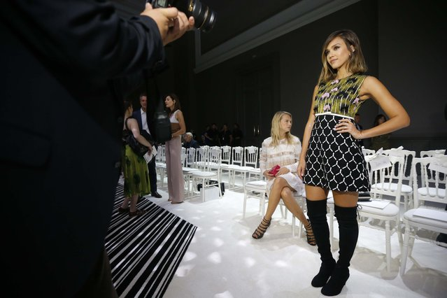 Actress Jessica Alba poses before Italian designer Giambattista Valli Haute Couture Fall Winter 2015/2016 fashion show in Paris, France, July 6, 2015. Picture taken July 6, 2015. (Photo by Stephane Mahe/Reuters)