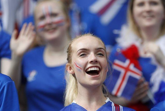 Football Soccer, Iceland vs Austria, EURO 2016, Group F, Stade de France, Paris Saint-Denis, France on June 22, 2016. Iceland fans before the match. (Photo by Darren Staples/Reuters)