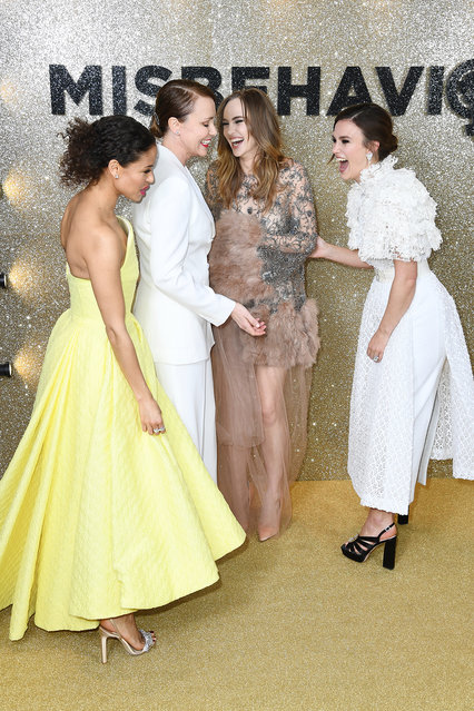 """(L-R) Gugu Mbatha-Raw, Keeley Hawes, Suki Waterhouse and Keira Knightley attend the """"Misbehaviour"""" World Premiere at The Ham Yard Hotel on March 09, 2020 in London, England. (Photo by Gareth Cattermole/Getty Images)"""