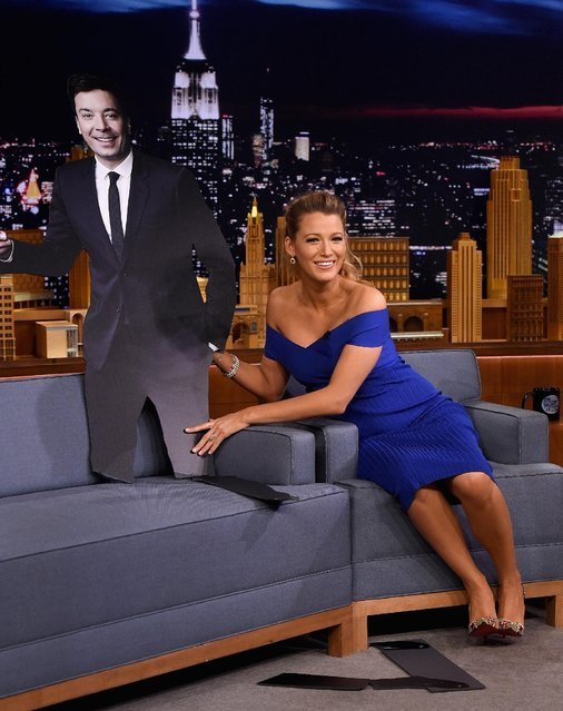 "Blake Lively during a segment on ""The Tonight Show Starring Jimmy Fallon"" at Rockefeller Center on June 20, 2016 in New York City. (Photo by Jamie McCarthy/Getty Images for NBC)"