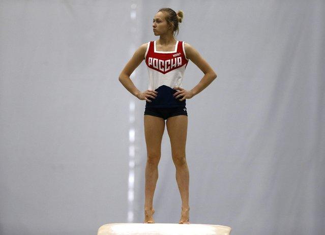 2016 Rio Olympics, Artistic gymnastics, Women's Training, Rio Athletes Park, Rio De Janeiro, Brazil on July 27, 2016. A gymnast from Russia trains. (Photo by Ivan Alvarado/Reuters)