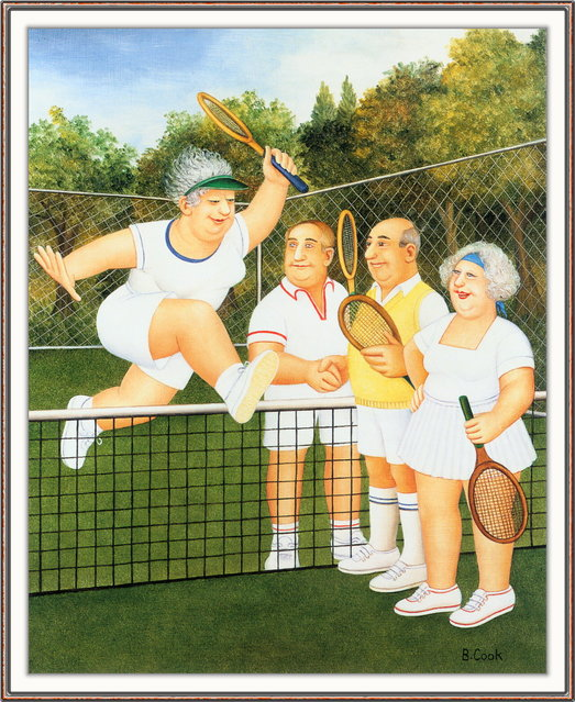 Mixed Doubles. Artwork by Beryl Cook