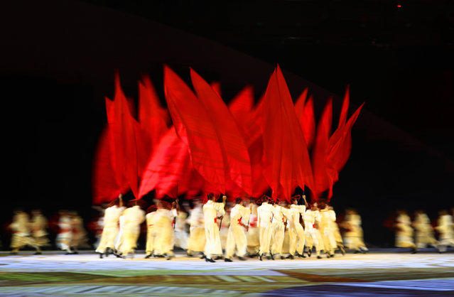 Performers dance at the Geometrization: Arrival of The Arabs and the Orient during the Opening Ceremony of the Rio 2016 Olympic Games at Maracana Stadium on August 5, 2016 in Rio de Janeiro, Brazil. (Photo by Ezra Shaw/Getty Images)