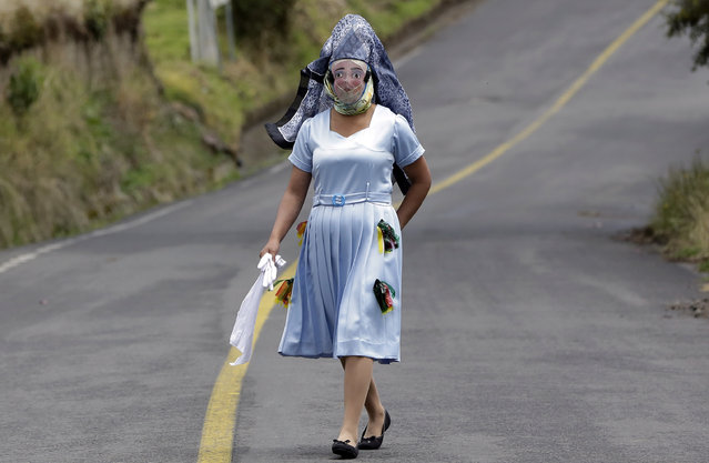"A woman dressed for la ""La Diablada"" festival walks down a road in Pillaro, Ecuador, Friday, January 6, 2017. Local legend holds that anyone who adopts a costume for the celebration and wears it at the event six years in a row will have good luck. (Photo by Dolores Ochoa/AP Photo)"