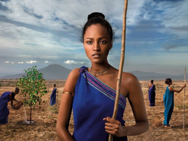 """""""Our Roots"""". Ethiopian women In the Kafa region defend and preserve the coffee which symbolises the richness of this land. (Photo by Steve McCurry/2015 Lavazza Calendar)"""