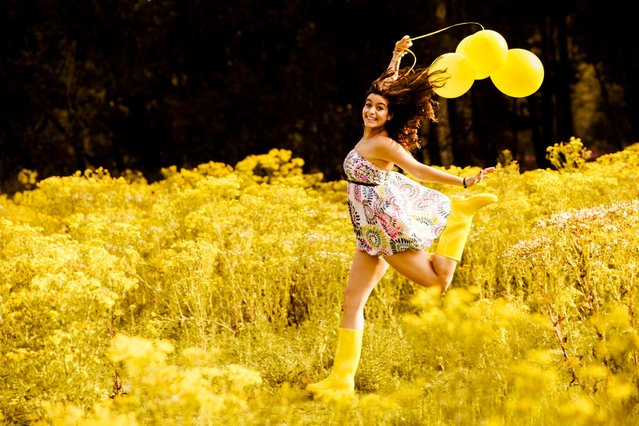 """Jumpology"". ""Jump! (Yvette loves yellow). (Photo by Andy Teo)"