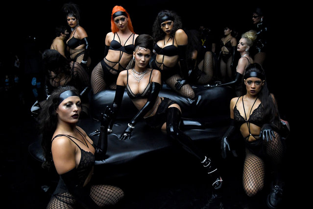 (L-R) In this image released on October 1, Alva Claire, Bella Hadid, Abby Champion, and Jaida Essence Hall are seen onstage during Rihanna's Savage X Fenty Show Vol. 2 presented by Amazon Prime Video at the Los Angeles Convention Center in Los Angeles, California; and broadcast on October 2, 2020. (Photo by Kevin Mazur/Getty Images for Savage X Fenty Show Vol. 2 Presented by Amazon Prime Video)