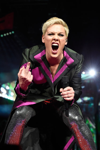 """Pink performs during her """"Beautiful Trauma"""" world tour opener at Talking Stick Resort Arena on March 1, 2018 in Phoenix, Arizona. (Photo by Kevin Mazur/Getty Images for Live Nation)"""