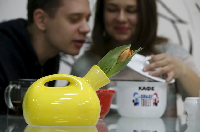 A flower vase designed in the likeness of urinal is seen at Crazy Toilet Cafe in central Moscow, Russia October 30, 2015. (Photo by Sergei Karpukhin/Reuters)