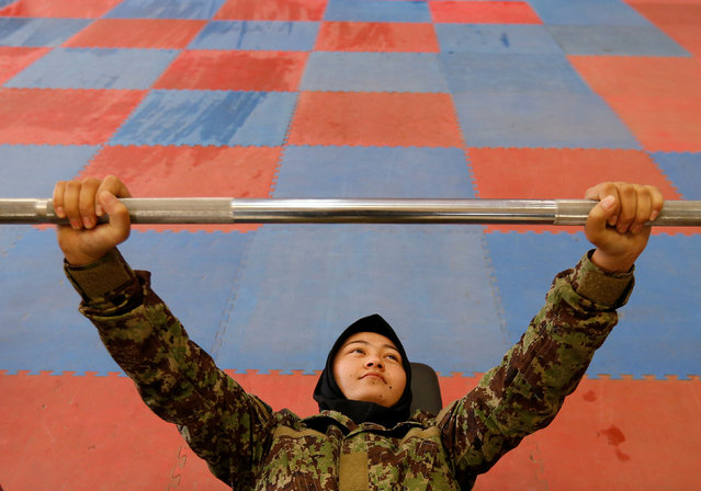 Female soldier, Parwana Naji, 19, from the Afghan National Army (ANA) at the gym at the Kabul Military Training Centre (KMTC) in Kabul, Afghanistan, October 23, 2016. (Photo by Mohammad Ismail/Reuters)