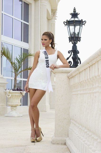 Miss Puerto Rico 2014 Gabriela Berrios poses in her evening gown after arriving at Trump National Doral Miami resort in Florida in this January 9, 2015 handout photo provided by the Miss Universe Organization. (Photo by Darren Decker/Reuters/Miss Universe Organization)