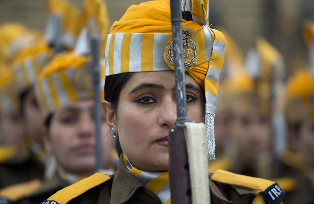 Indian police women take part in a full dress rehearsal ahead of a Republic Day parade in Srinagar, India, Saturday, January 24, 2015. (Photo by Dar Yasin/AP Photo)