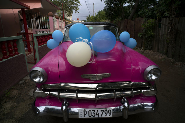 In this December 20, 2015 photo, a classic American car sits decorated with balloons before taking Daniela Santos Torres, 15, to her quinceanera party in the town of Punta Brava near Havana, Cuba. (Photo by Ramon Espinosa/AP Photo)