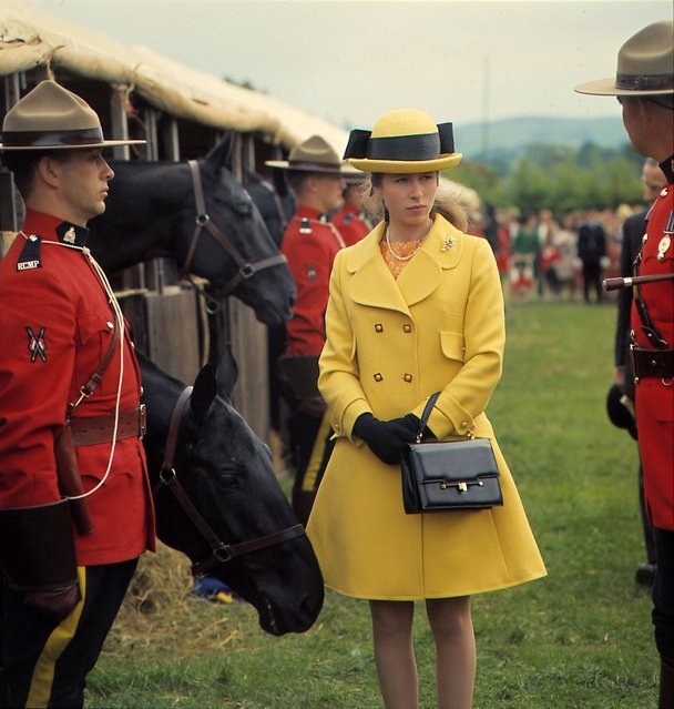 Princess Anne at the Bath and West Agricultural Show with members of the Royal Canadian Mounted Police, Bath, UK, 29th May 1969. (Photo by Jeremy Fletcher/Getty Images)