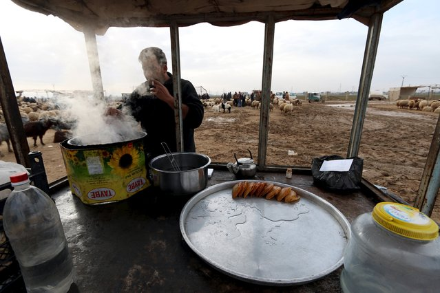 A street vendor sells sweets at a sheep market in the Syrian town of Ras al-Ain, close to the Turkish border, January 23, 2016. (Photo by Rodi Said/Reuters)
