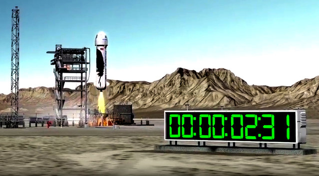 This undated image provided by Blue Origin shows an illustration of a rocket taking off from a launch pad. Space tourism companies are employing designs including winged vehicles, vertical rockets with capsules and high-altitude balloons. While developers envision ultimately taking people to orbiting habitats, the moon or beyond, the immediate future involves short flights into or near the lowest reaches of space without going into orbit. (Photo by Blue Origin via AP Photo)