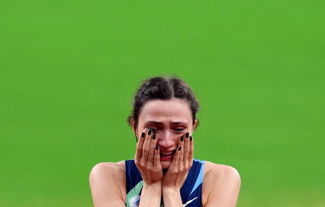 Mariya Lasitskene of Russia reacts after winning the gold medal in the high jump competition for women during the Track and Field competition at the Olympic Stadium at the Tokyo 2020 Summer Olympic Games on August 7th, 2021 in Tokyo, Japan. (Photo by Aleksandra Szmigiel/Reuters)