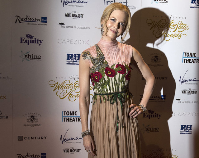Actress Nicole Kidman arrives at the annual WhatsOnStage Awards at the Prince of Wales Theatre in London, Sunday February 21, 2016. (Photo by Lauren Hurley/PA Wire via AP Photo)