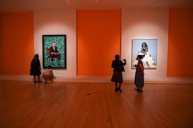 The Obama Portraits exhibit is opened at the Brooklyn Museum in Brooklyn of New York City, United States on August 25, 2021. (Photo by Tayfun Coskun/Anadolu Agency via Getty Images)