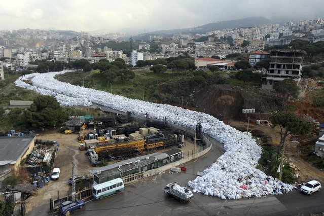 A general view shows packed garbage bags in Jdeideh, Beirut, Lebanon February 23, 2016. (Photo by Hasan Shaaban/Reuters)