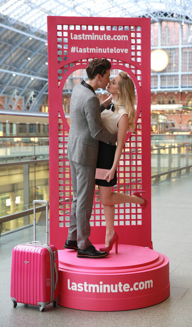 Singer Diana Vickers and her boyfriend, model George Craig, launch lastminute.com's Valentine's Day competition at London's St Pancras station, where participants, who will need to bring a valid passport, are invited to kiss at the station on Friday 14th February to win a trip to Paris. (Photo by Matt Alexander/PA Wire)