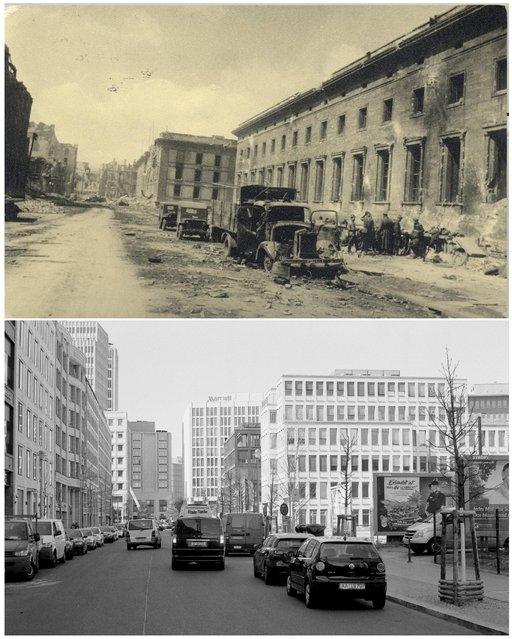 A combination photo shows Russian soldiers next to the Neue Reichskanzlei (New Reich Chancellery), the Chancellery of Adolf Hitler at Voss Street in this undated photo taken May 1945 in Berlin (top) and at the same location (bottom) April 20, 2015. (Photo by Georgiy Samsonov (top)/Fabrizio Bensch (bottom)/Reuters/MHM)