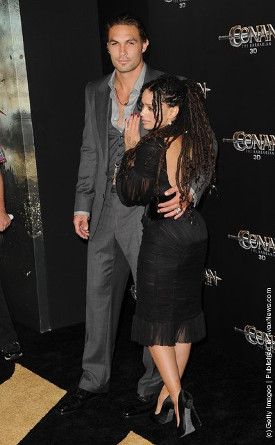 Lisa Bonet and Jason Momoa attend the world premiere of Conan The Barbarian