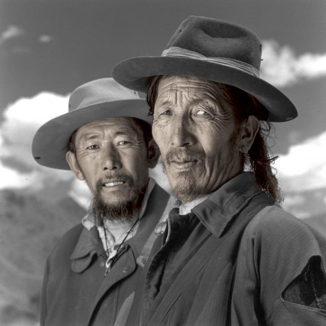 """Namyang and Tsutin are farmers from Amdo province who had just arrived in Lhasa after completing a two-month pilgrimage to the Jokhang, the most sacred temple in Tibet. Tibetans from all over the country aspire to make this pilgrimage at least once during their lifetime"". (Phil Borges)"