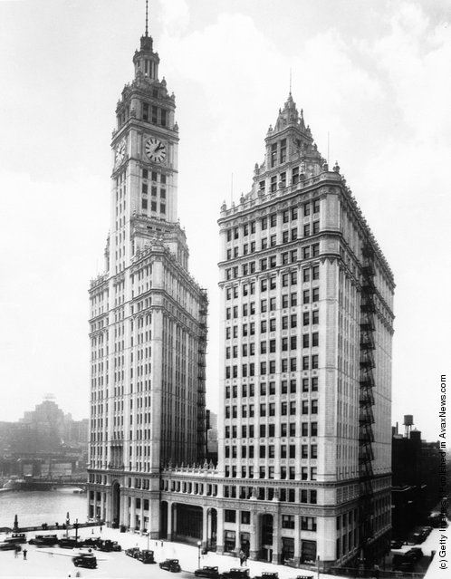 1930: The Wrigley Building in Chicago built for maximum daylight and ventilation by the Wrigley chewing gum company