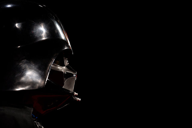 "The first mock-up of the iconic Darth Vader helmet is seen during the ""Star Wars Identities"" Exhibtion Press Preview & VIP Opening at Odysseum on May 20, 2015 in Cologne, Germany. (Photo by Sascha Steinbach/Getty Images)"