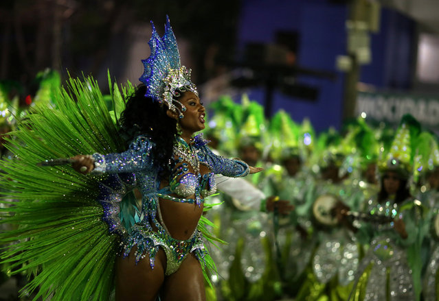 Drum queen Carmen Mouro from Mocidade samba school performs during the second night of the carnival parade at the Sambadrome in Rio de Janeiro, Brazil February 28, 2017. (Photo by Pilar Olivares/Reuters)