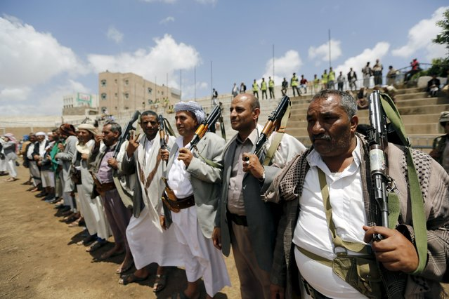 Tribesmen loyal to the Houthi movement attend a gathering in Yemen's capital Sanaa, April 17, 2016. (Photo by Khaled Abdullah/Reuters)