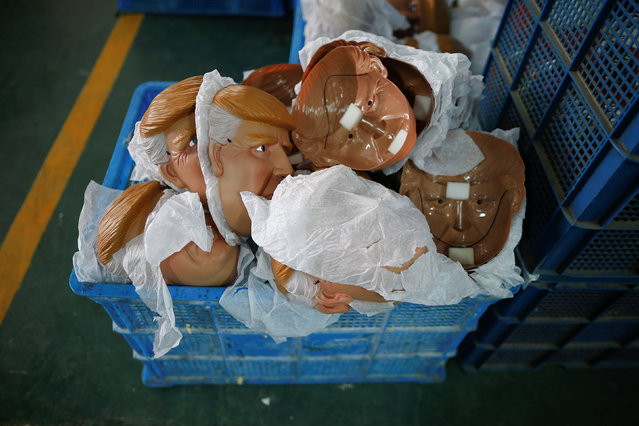Masks of U.S. Republican presidential candidate Donald Trump lie in a box at Jinhua Partytime Latex Art and Crafts Factory in Jinhua, Zhejiang Province, China, May 25, 2016. (Photo by Aly Song/Reuters)