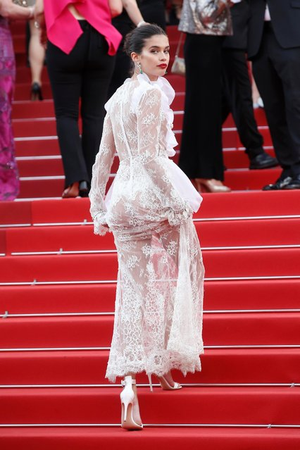 Model Sara Sampaio poses for photographers upon arrival at the screening of the film The Killing Of A Sacred Deer at the 70th international film festival, Cannes, southern France, Monday, May 22, 2017. (Photo by Thibault Camus/AP Photo)