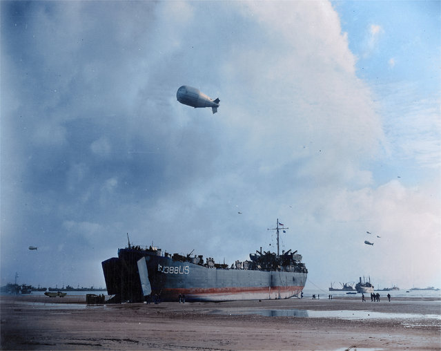 The USS LST-388 lands at Normandy beach in the June of 1944 as the tide finally turns on Hitler's Germany. (Photo by Jared Enos/Mediadrumworld.com)