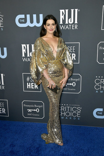 Anne Hathaway attends the 25th Annual Critics' Choice Awards at Barker Hangar on January 12, 2020 in Santa Monica, California. (Photo by Frazer Harrison/Getty Images)