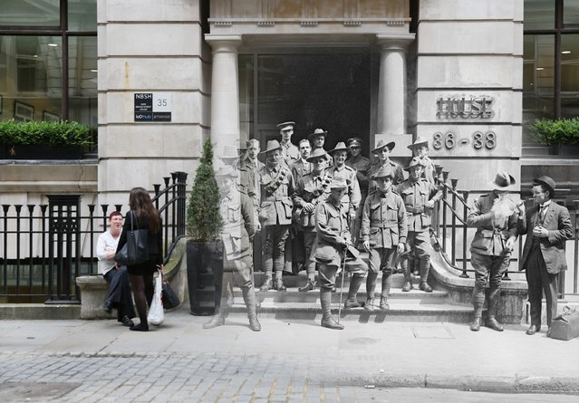 A picture showing office workers take a break outside the former Egypt House on July 11, 2014, has been digitally altered to show Australian soldiers outside the same building in 1917. (Photo by Peter Macdiarmid/Getty Images)