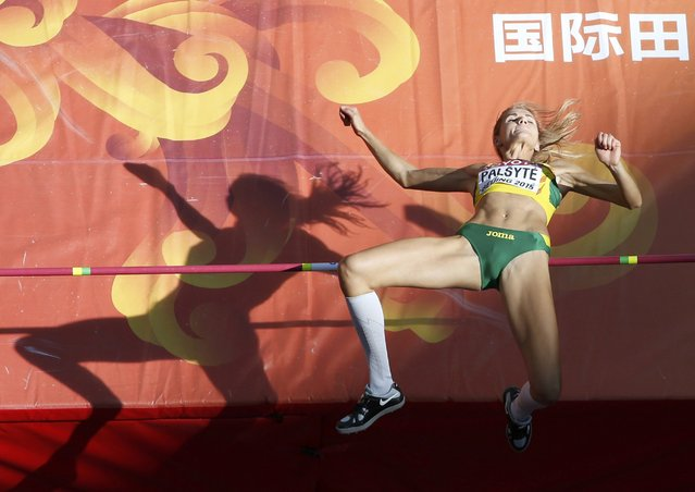 Airine Palsyte of Lithuania competes in the women's high jump qualifying round during the 15th IAAF World Championships at the National Stadium in Beijing, China, August 27, 2015. (Photo by Kim Kyung-Hoon/Reuters)