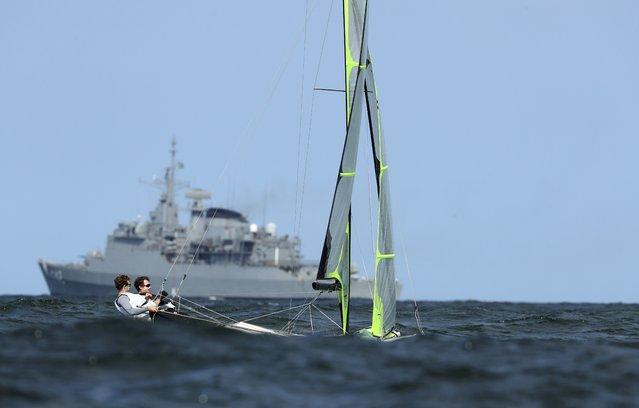 Rio Olympics, Sailing training, Marina da Gloria Copacabana, Rio de Janeiro, Brazil on August 4, 2016. The U.S. 49er sailing class team are seen during training. (Photo by Benoit Tessier/Reuters)