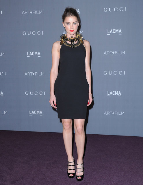 Actress Amber Heard arrives at the LACMA Art + Gala at LACMA on October 27, 2012 in Los Angeles, California. (Photo by Jon Kopaloff/FilmMagic)