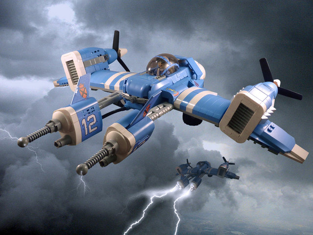 """""""The T-160 Thunderbird (pictured here with pilot Capt Penny Bowman) was an experimental fighter developed by the Palladite Republic. The Palladites, renowned for their inventive but impractical ideas fitted the fighter with twin Arc guns, each one housed in an electrically insulated nacelle at the front of the plane. Each Arc gun was powered by its own generator capable of creating 12,000,000 volts. (Jon Hall)"""